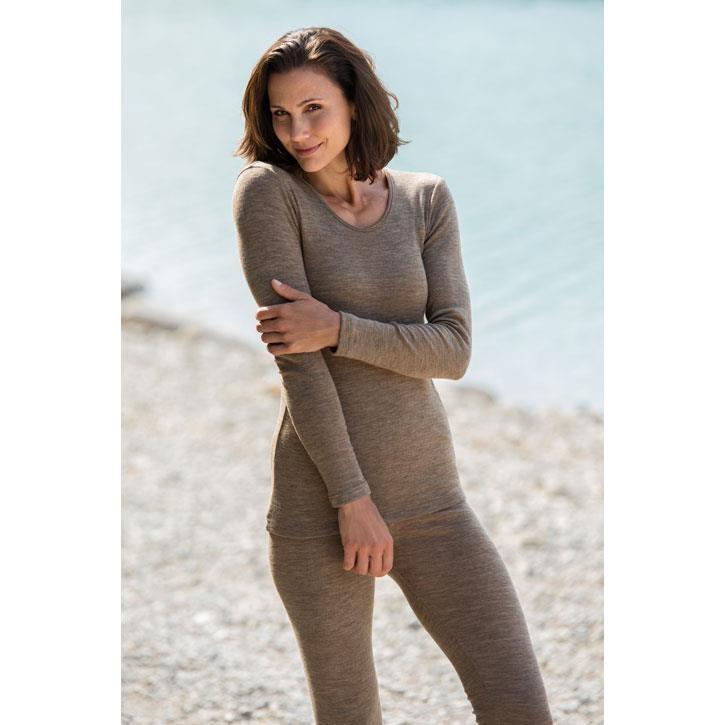Engel Damen-Shirt, langarm, walnuss, 70Wolle/30Seide