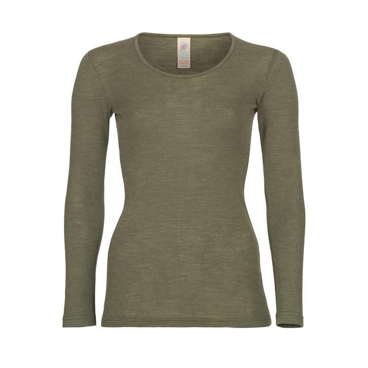 Engel Damen-Shirt, langarm, Wolle/Seide olive