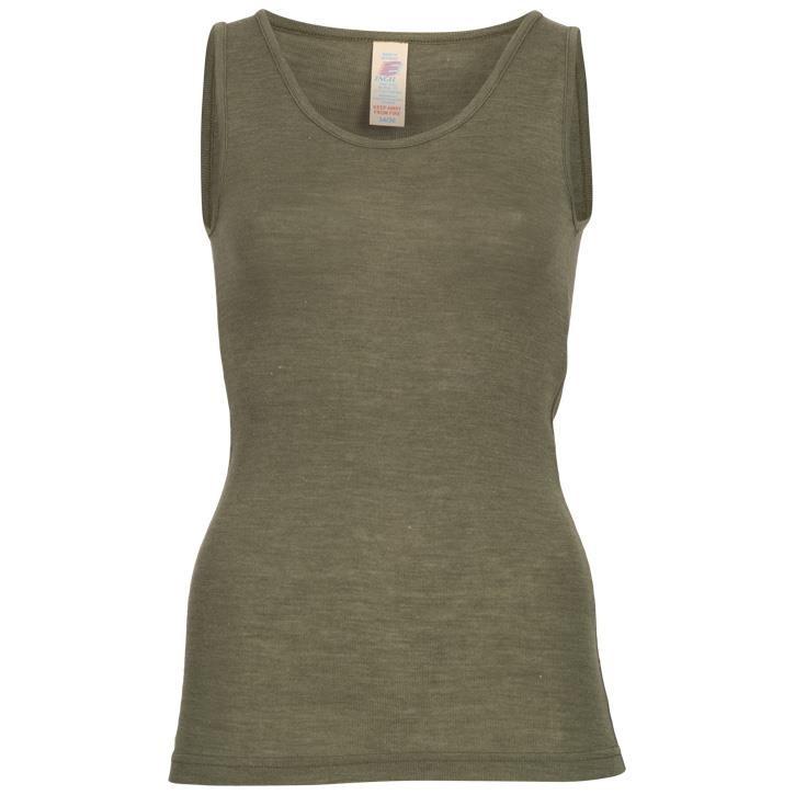 Engel Damen-Trägerhemd, Wolle/Seide olive
