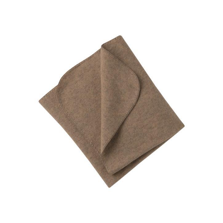 Engel Decke m. Muschelkante walnuss melange 1 Schurwolle-Fleece