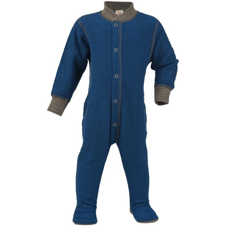 Engel Einteiliger Schlafanzug, m. Fuß, light ocean, 98/104, Woll-Frottee