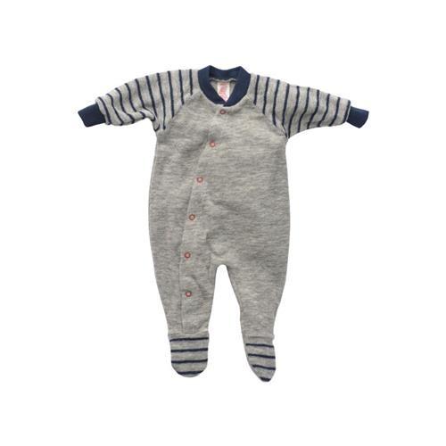 Engel Frühchen-Schlafanzug, einteilig, m. Fuß, hellgrau melange, Woll-Frottee