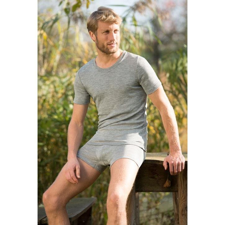 Engel Herren-Shirt, kurzarm, hellgrau melange, 70Wolle/30Seide