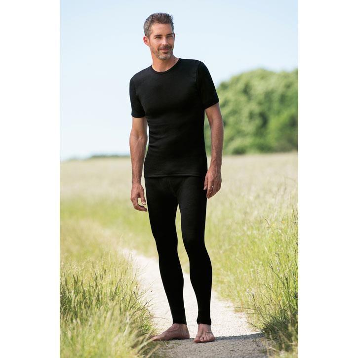 Engel Herren-Shirt, kurzarm, schwarz, 70Wolle/30Seide