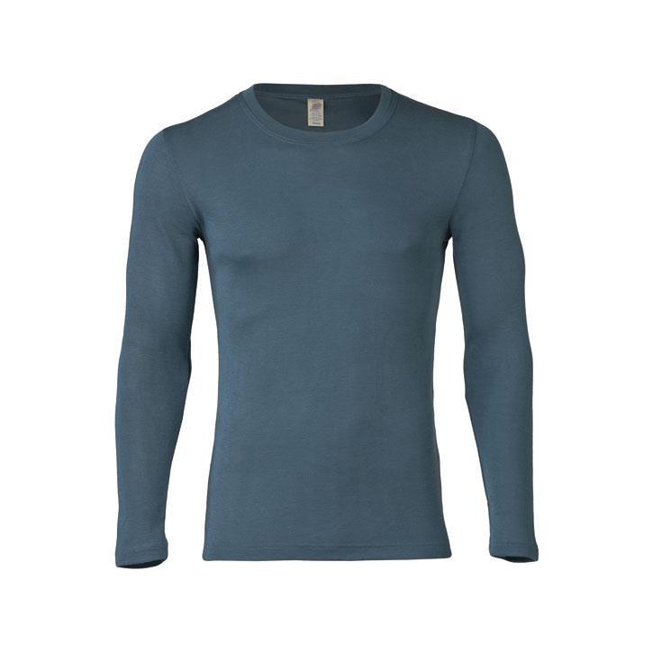 Engel Herren-Shirt, langarm, atlantik, 70Wolle/30Seide