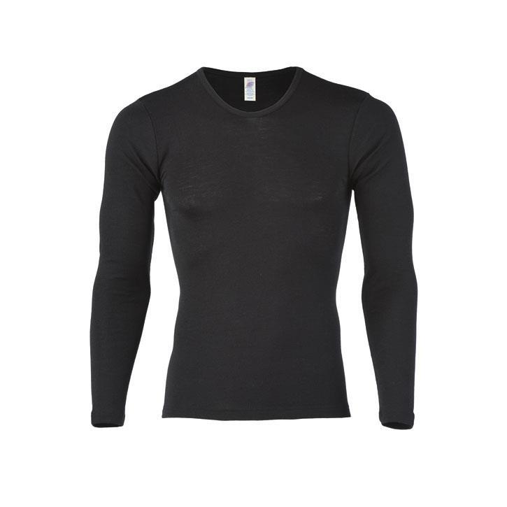 Engel Herren-Shirt, langarm, schwarz, 70Wolle/30Seide