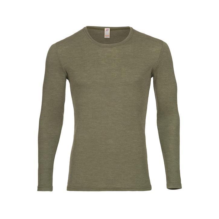 Engel Herren-Shirt, langarm, Wolle/Seide olive