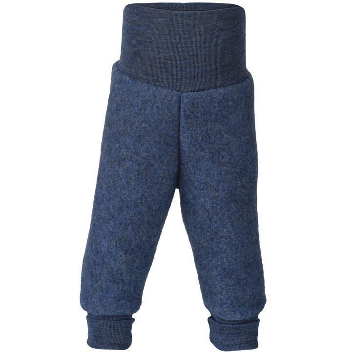 Engel Hose, m. Nabelbund, blau melange, Woll-Fleece