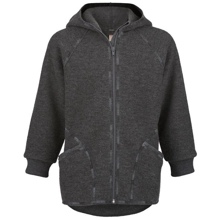 Engel Jacke mit Kapuze und Reißverschluss, Walk, lavagrau melange, IVN Best  100% Schurwolle
