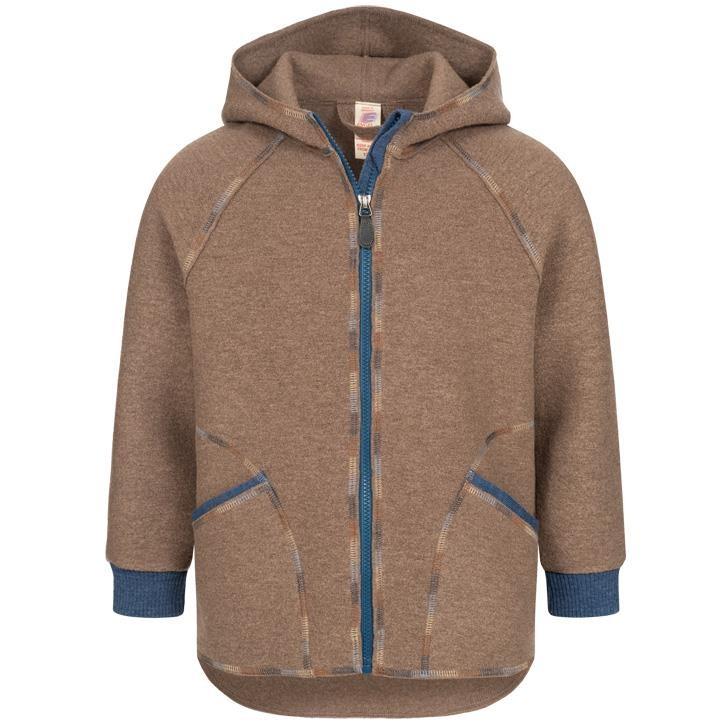 Engel Kinder-Jacke mit Kapuze und Reißverschluss, muskat, Woll-Walk