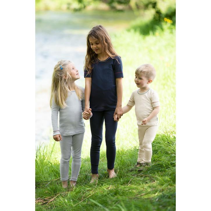 Engel Kinder-Shirt, kurzarm, IVN BEST - indigo - natur - grau