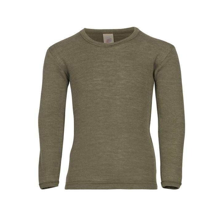 Engel Kinder-Shirt, langarm, Wolle/Seide olive