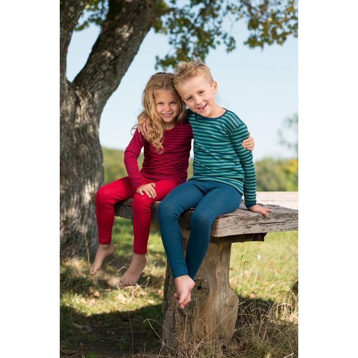 Engel Kinder Unterhemd, langarm, kirschrot + lightocean, 70Wolle/30Seide