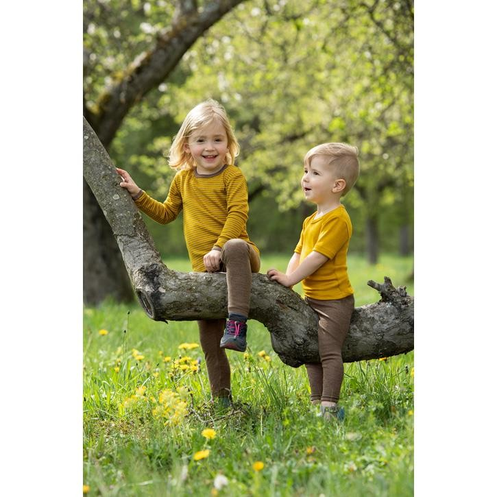 Engel Kinder Unterhemd, langarm, safran/walnuss, 70Wolle/30Seide