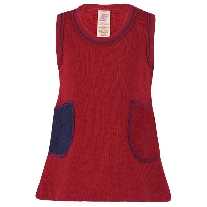Engel Kleidchen, rot melange,  Woll-Frottee