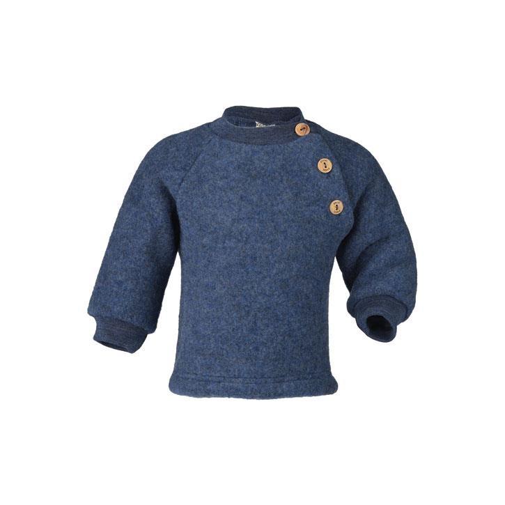 Engel Raglanpullover, blau melange, Woll-Fleece