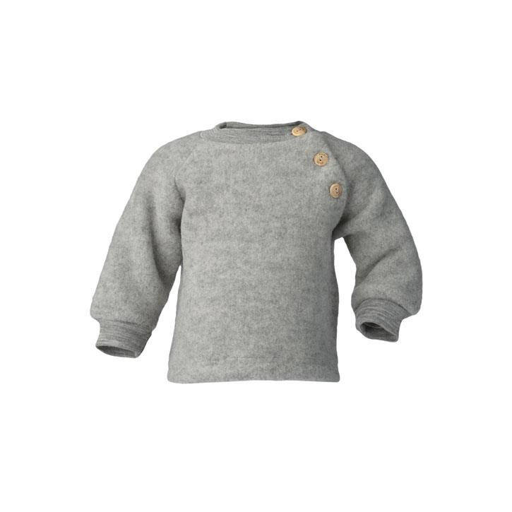 Engel Raglanpullover, hellgrau melange, Woll-Fleece