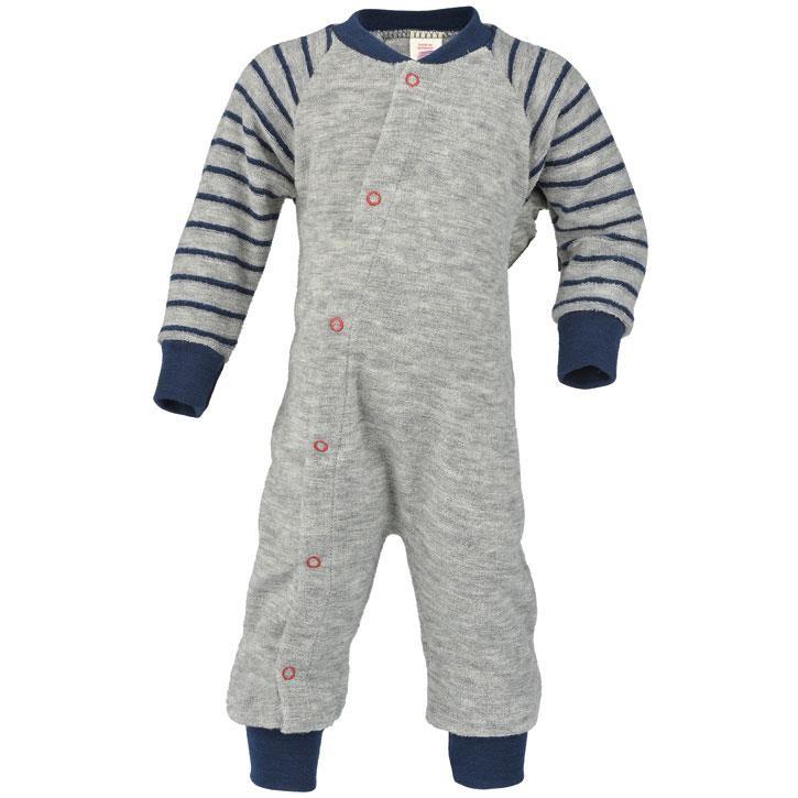 Engel Schlafanzug, einteilig, hellgrau melange, Woll-Frottee