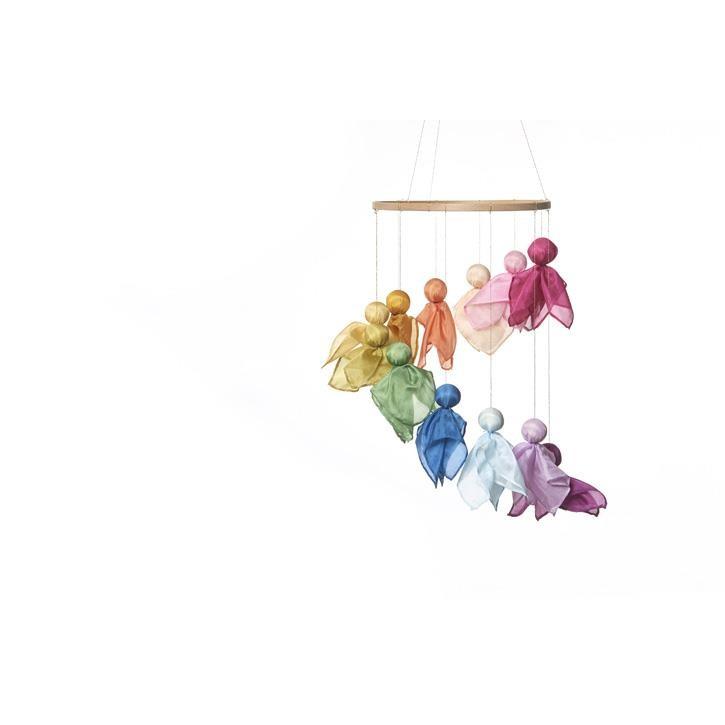 Filges Feenreigen: 12 farbig rollierte Seidentüchlein, Goldfaden, Buchenreifen, Wolle und Anleitung.
