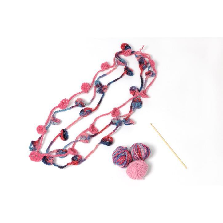 Filges Häkelblumen-Kette, multicolor, pflanzengefärbt,  rosa-pink Töne