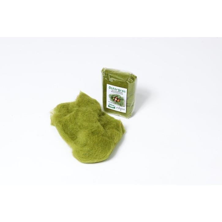 Filges Ostergras: kbT- Schafschurwolle, 20g, pflanzengefärbt, gekämmt