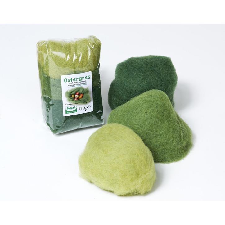 Filges Ostergras: kbT- Schafschurwolle, 50g, pflanzengefärbt, gekämmt