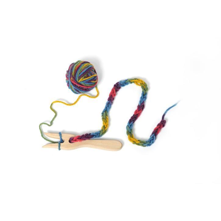 Filges Strickgabel mit Wolle, blau-grün-gelb 50g