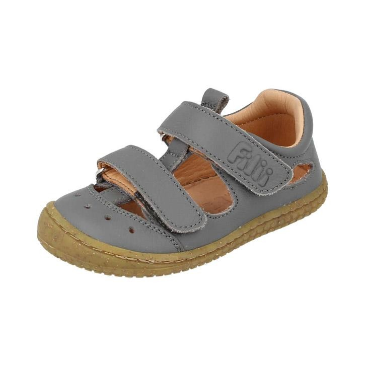 Filii-Barefoot Sandale Bio KAIMAN nappa velcro stone Mittel