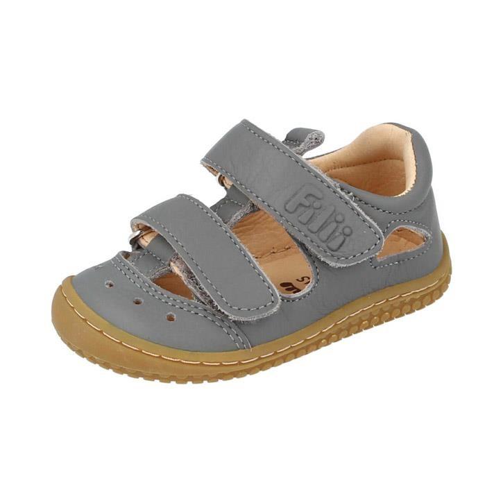 Filii-Barefoot Sandale Bio KAIMAN nappa velcro stone Weit
