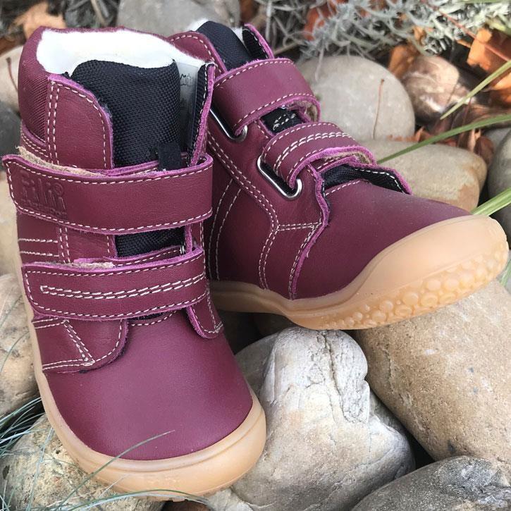 Filii-Barefoot Stiefel Bio Klett Wool berry