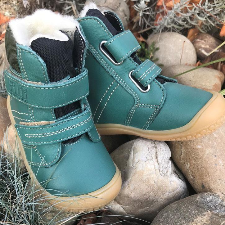 Filii-Barefoot Stiefel Bio Klett Wool green
