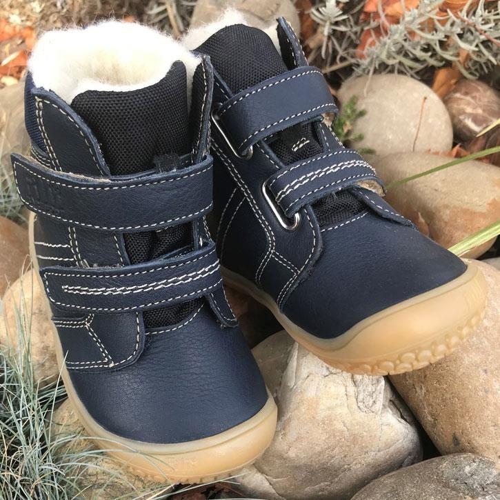 Filii-Barefoot Stiefel Bio Klett Wool ocean