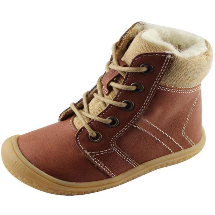 Filii-Barefoot Stiefel Bio Schnürer Wool cognac 20