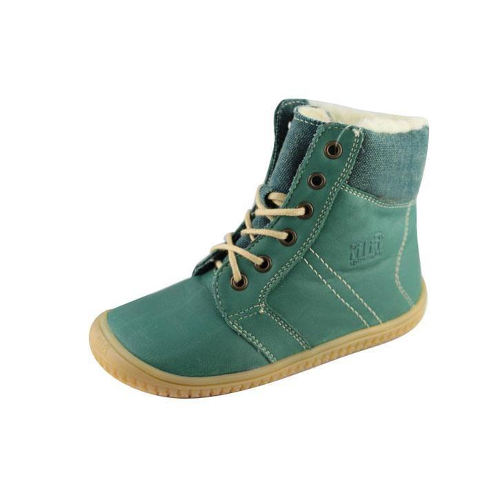 Filii-Barefoot Stiefel Bio Schnürer Wool dark green 23