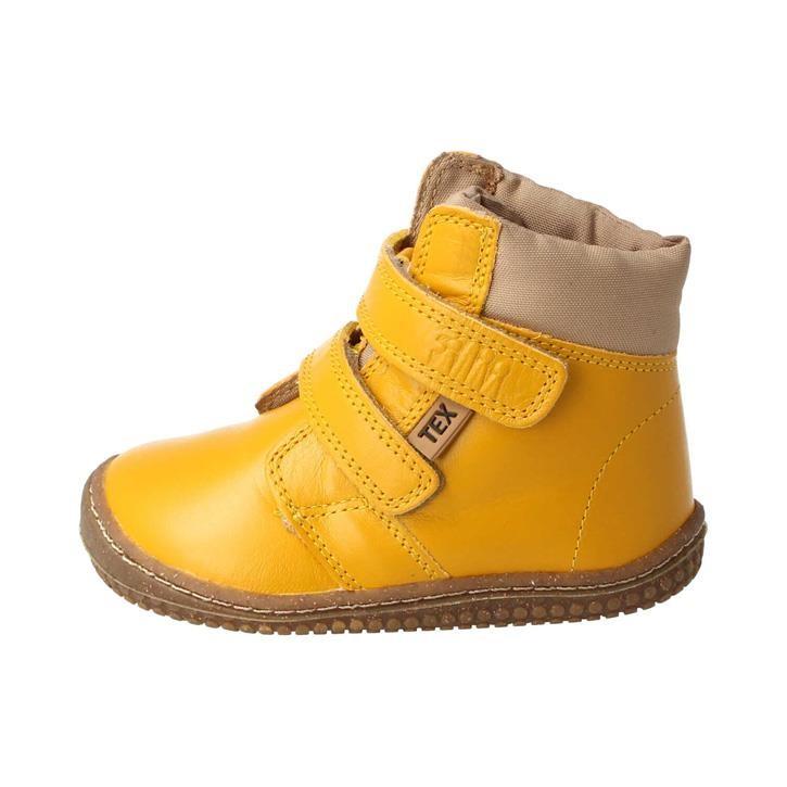 Filii Barfußschuh Himalaya Stiefel Bio Nappa Klett mustard lemon 100% Wollfutter