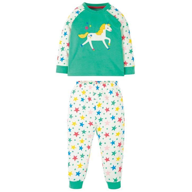 Frugi Ace Schlafanzug  Pacific Aqua/Unicorn
