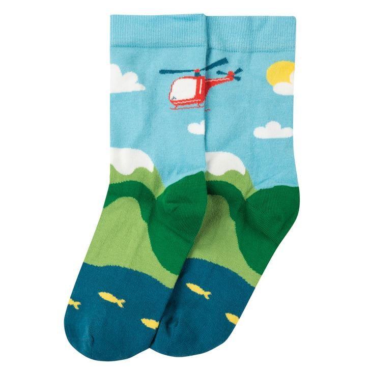 Frugi Big Foot Sock  Bright Sky/Helicoptor