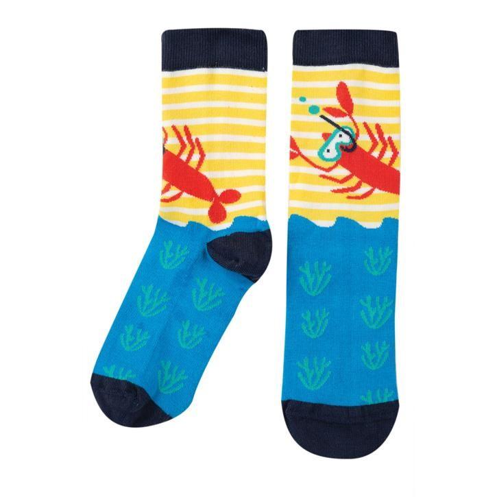 Frugi Big Foot Sock  Sunflower Stripe/Lobster