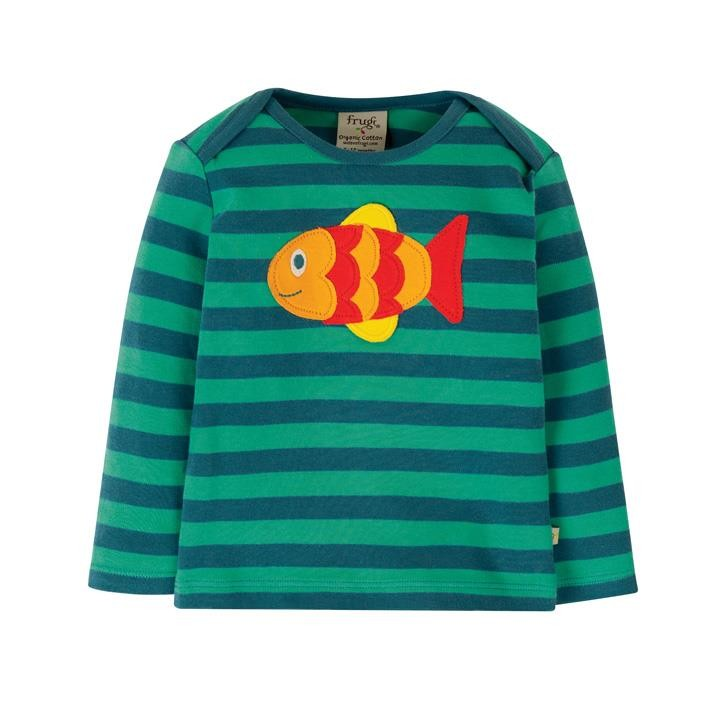 Frugi Bobby Applique Top  Pacific Aqua Stripe/Fish