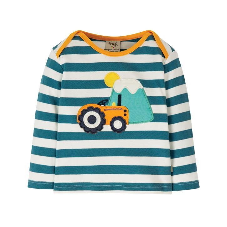 Frugi Bobby Applique Top  Steely Blue Stripe/Tractor