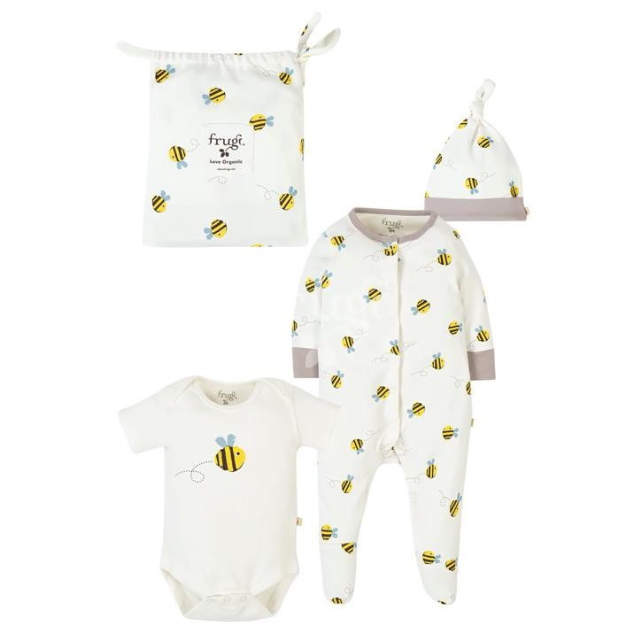 Frugi Buzzy Bee Baby Gift Set, Buzzy Bee, GOTS