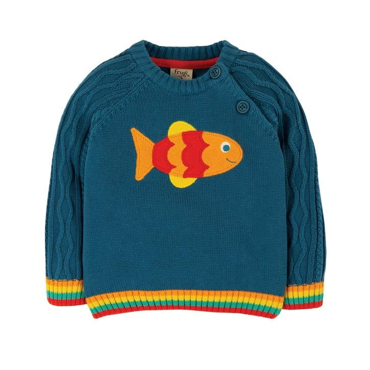 Frugi Caleb Cable Knit Pulli  Steely Blue/Fish