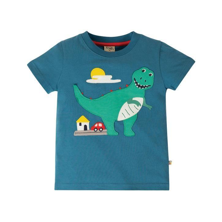 Frugi Carsen T-Shirt  Steely Blue/Dino
