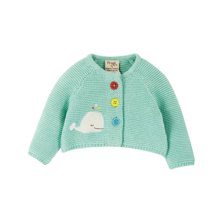 Frugi Cute As A Button Strickjacke  Light Aqua/Whale