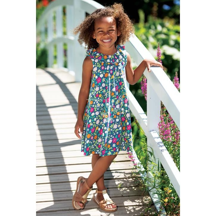 Frugi Dina Slub Dress, Flower Valley,  GOTS