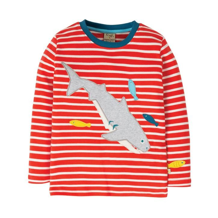 Frugi Discovery Applique Top  Koi Red Stripe/Shark