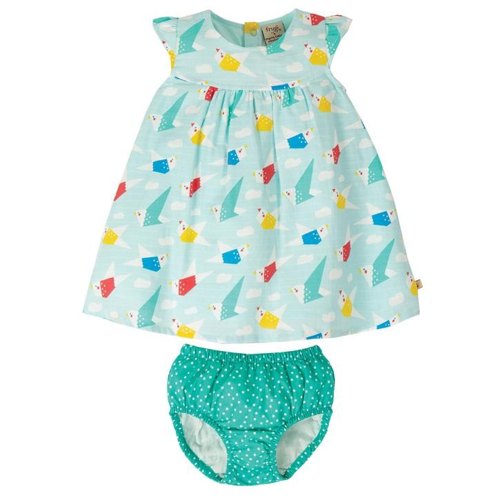 Frugi Dolly Muslin Outfit  Aqua Origami Flight