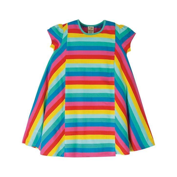 Frugi Elodie Twirly Kleid  Flamingo Multi Stripe