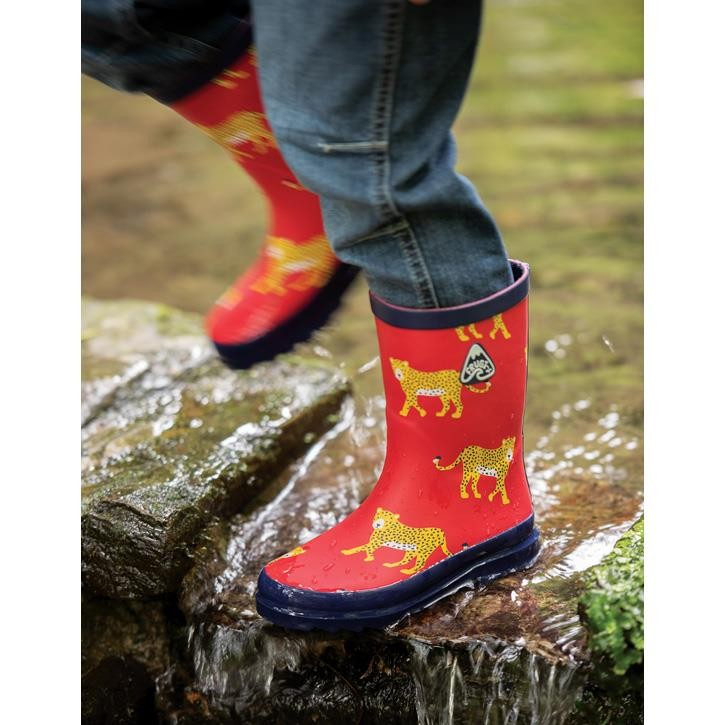 Frugi Explorer Wellington Gummistiefel True Red Leopards