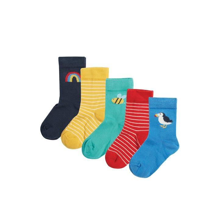 Frugi Finlay Socken 5 Pack 1- 2J Rainbow